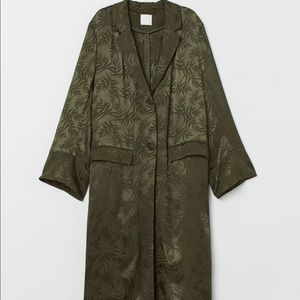 H&M brand new dark green long coat size small
